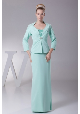 Chiffon Mother Of The Bride Dress Apple Green Sleeves
