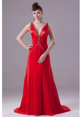 Brush Train Sexy Red Prom Formal Dress Beading V-neck