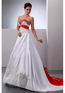 A-line Embroidery and Beading Court Train Wedding Dress