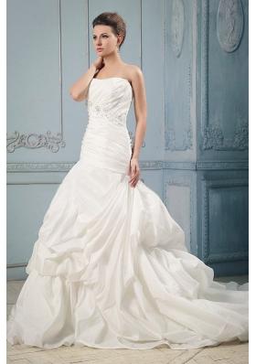 Court Train Wedding Dress With Ruching Beading Pick-ups