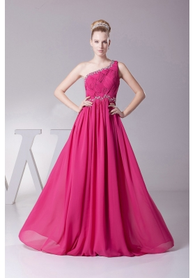 Beading One Shoulder Ruched for Hot Pink Prom Dress