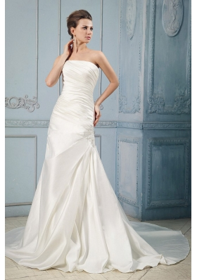 Taffeta Wedding Dress With Ruching Appliques Court Train