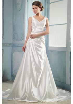 V-neck Ruching Taffeta Wedding Dress With Court Train
