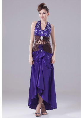 Purple Halter and High-low Beading Prom Cocktail Dress