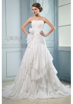 Ruching and Beading Ruffled Layers A-line Wedding Dress