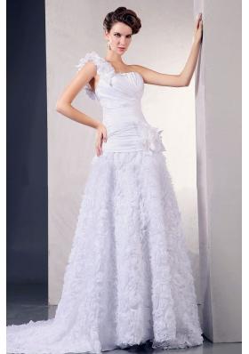 Rolling Flowers One Shoulder Special A-line Wedding Dress