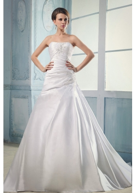 Appliques and Ruching Court Train A-line Wedding Dress