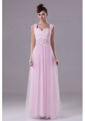Square Tulle Pink Prom Maxi Dress with Beading