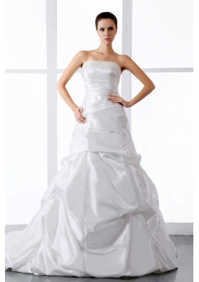 Beading and Ruching Wedding Dress With Court Train