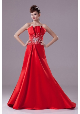 Red A-line Beading Strapless Satin Prom Dress