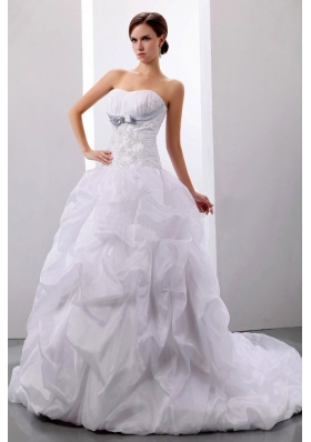 Ball Gown With Appliques and Pick-ups Wedding Dress