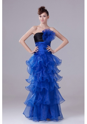 Royal Blue Prom Graduation Dress Flowers Ruffled Layers Ruch