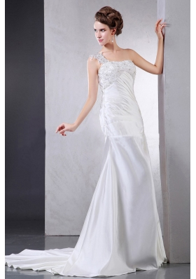 Appliques Wedding Dresses With Ruch One Shoulder Satin