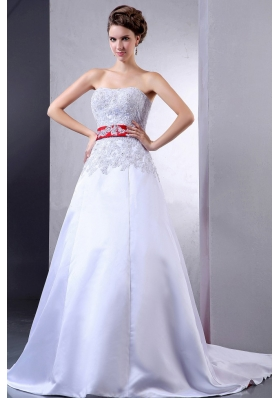 Wedding Dress With Appliques and Red Sash Court Train