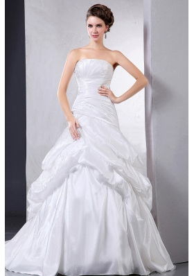 Taffeta Ball Gown Wedding Dress With Pick-ups and Ruching
