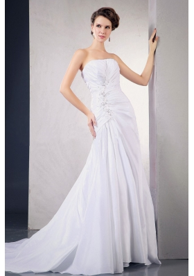 Chiffon Wedding Dress With Appliques Beading Ruching