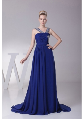 Beaded V-neck and Ruch Blue Prom Maxi Dress