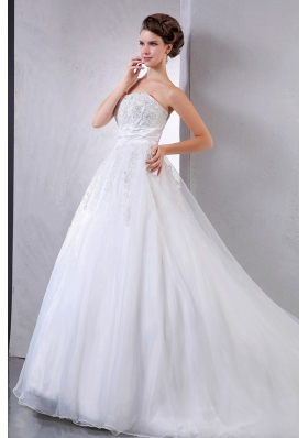 Wedding Bridal Gown With Appliques Organza Ball Gown