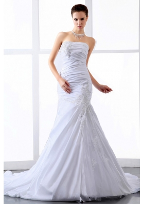 A-line Wedding Dress Court Train With Appliques Ruching