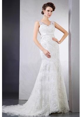 Lace Clasp Handle V-neck Court Train Wedding Dress