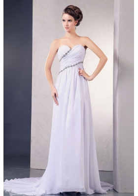 Elegant 2013 Wedding Dress Appliques Ruching Court
