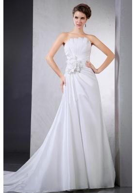 Elegant Wedding Dress Hand Made Pleats Chapel