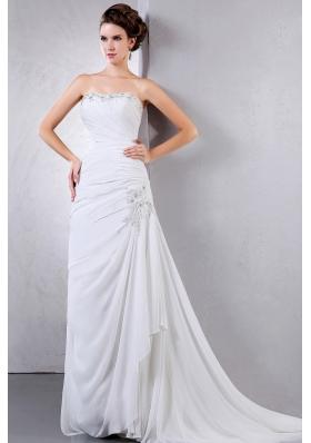 Appliques Ruching 2013 Wedding Dress Court Chiffon
