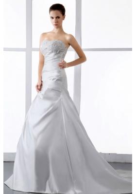 Gorgeous Wedding Dress Appliques A-line Court