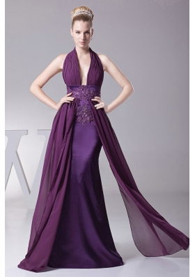 Sexy Purple Halter Dress For Prom Ruch Appliques