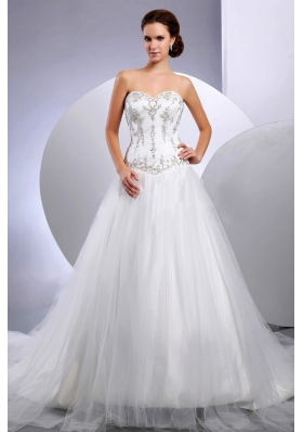 2013 Cathedral Embroidery Wedding Dress Sweetheart