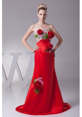 Flowers Decorate Appliques 2013 Prom Dress Customize