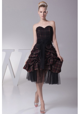 Pick-ups Sash Prom Dress Plaid fabric Tulle