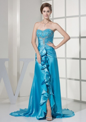 Teal Prom Dress Taffeta Beading Brush Train