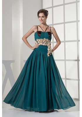 Spaghetti Straps Teal Prom Dress Handmade Flowers
