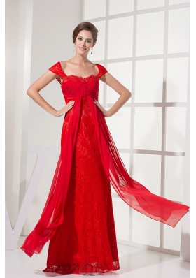 Cap Sleeves Red Prom Dress With Lace Floor-length