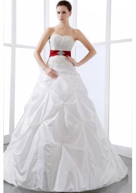 Wedding Dress Sweetheart Appliques Pick-ups Chapel Train