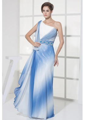 One Shoulder Ombre Color Prom Dress Chiffon Floor-length