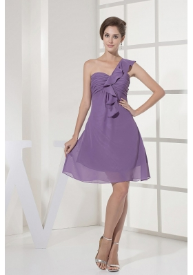 One Shoulder Ruched Lilac Prom Dress Chiffon Mini-length