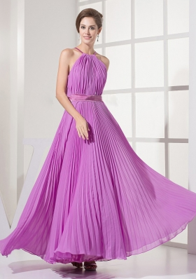 Pleated Lavender Chiffon Scoop Prom Dress Floor-length