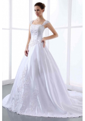 Appliques Wedding Dress Straps Cathedral Train A-line