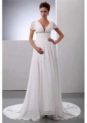 Short Sleeves V-Neck Court Train Chiffon Wedding Dress