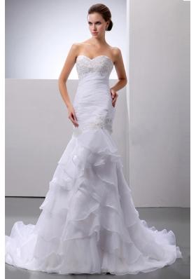 Mermaid Beading Layered Ruffles Court Train Wedding Dress
