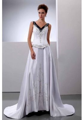 V-Neck A-Line Embroidery Wedding Dress Court Train Satin