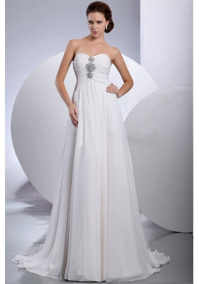 Beading Brush Train Chiffon Bridal Wedding dresses