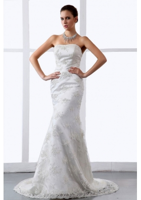 Mermaid Embroidery Lace Brush Train Bridal Dress