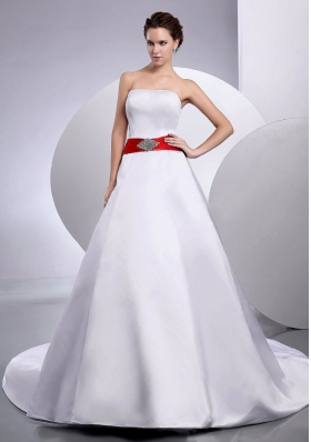 Red Belt Wedding Gowns Dresses Court Train Satin