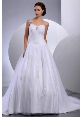 Dresses for Bridal One Shoulder Tulle Appliques A-Line
