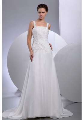Straps Embroidery Bridal Gowns Ruched Princess Chiffon