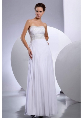 Beading Empire Chiffon Wedding Gowns Floor-length Strapless