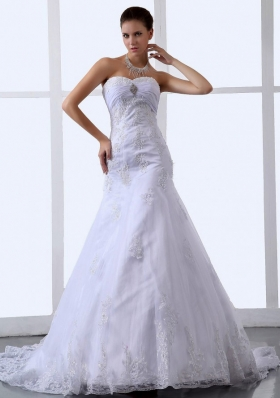 Mermaid Appliques Sweetheart Tulle Wedding Dresses Ruched